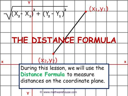 THE DISTANCE FORMULA During this lesson, we will use the Distance Formula to measure distances on the coordinate plane.