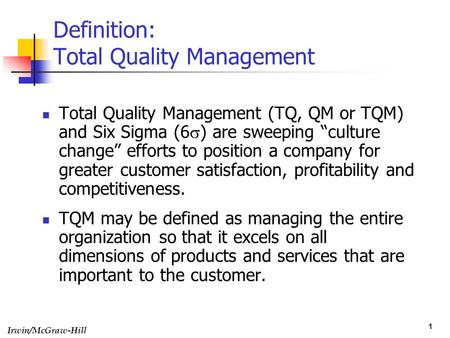 total quality management schools tqs Total quality in service companies topics: total total quality management term/school critical dimensions of tqs a review of literature on quality.