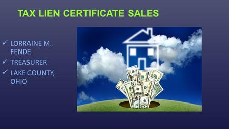TAX LIEN CERTIFICATE SALES LORRAINE M. FENDE TREASURER LAKE COUNTY, OHIO.