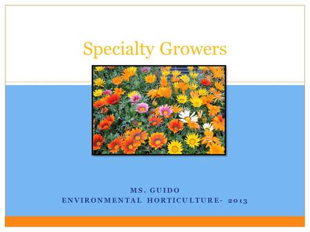 MS. GUIDO ENVIRONMENTAL HORTICULTURE- 2013 Specialty Growers.