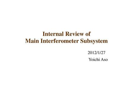 Main Interferometer Subsystem