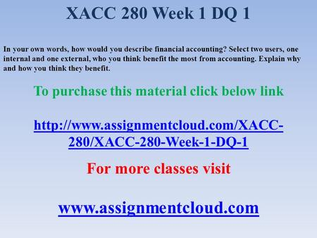 XACC 280 Week 8 Assignment - Internal Controls