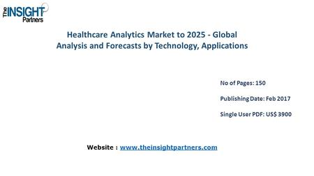 Healthcare Analytics Market to Global Analysis and Forecasts by Technology, Applications No of Pages: 150 Publishing Date: Feb 2017 Single User.