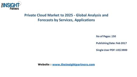Private Cloud Market to Global Analysis and Forecasts by Services, Applications No of Pages: 150 Publishing Date: Feb 2017 Single User PDF: US$