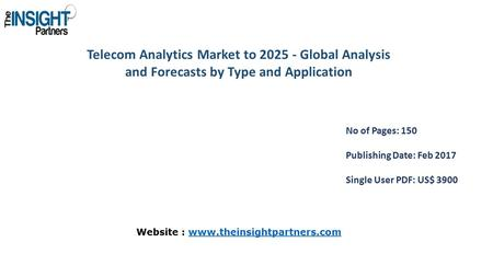 Telecom Analytics Market to Global Analysis and Forecasts by Type and Application No of Pages: 150 Publishing Date: Feb 2017 Single User PDF: US$