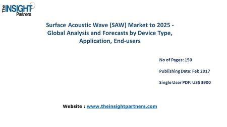 Surface Acoustic Wave (SAW) Market to Global Analysis and Forecasts by Device Type, Application, End-users No of Pages: 150 Publishing Date: Feb.