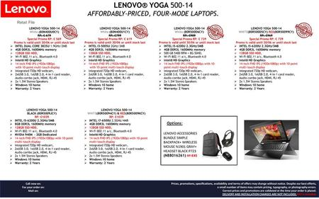 LENOVO® YOGA AFFORDABLY-PRICED, FOUR-MODE LAPTOPS. Retail File
