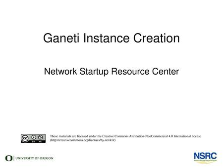 Ganeti Instance Creation
