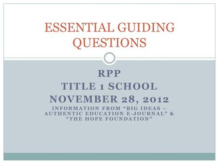 ESSENTIAL GUIDING QUESTIONS