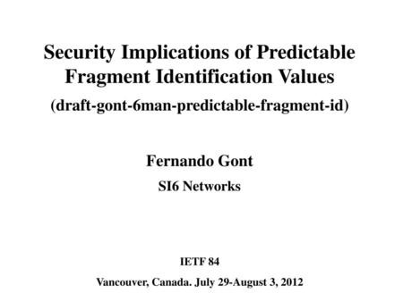 Security Implications of Predictable Fragment Identification Values