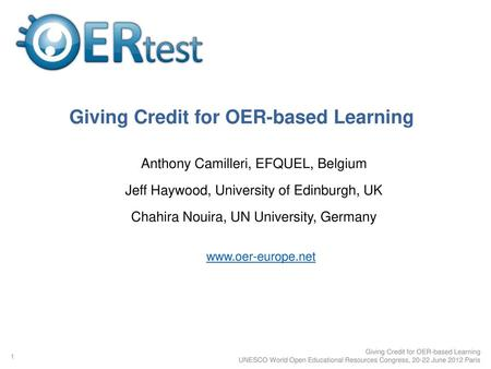 Giving Credit for OER-based Learning