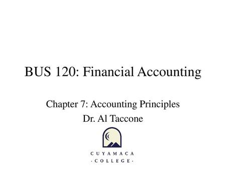 BUS 120: Financial Accounting