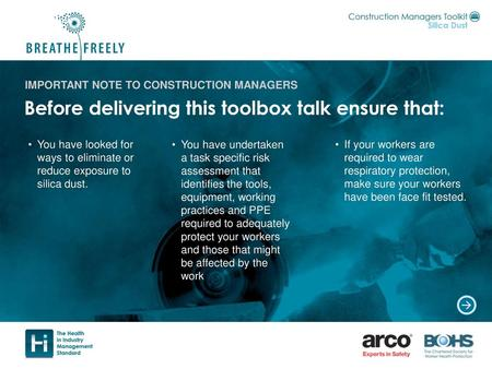 IMPORTANT NOTE TO CONSTRUCTION MANAGERS