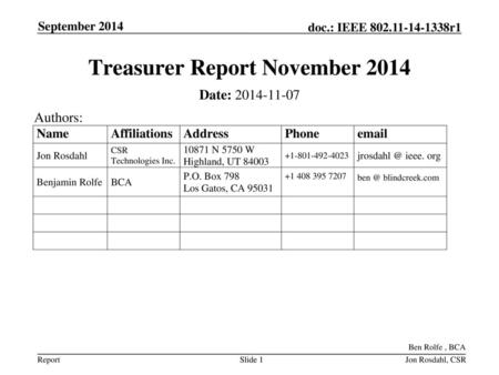 Treasurer Report November 2014