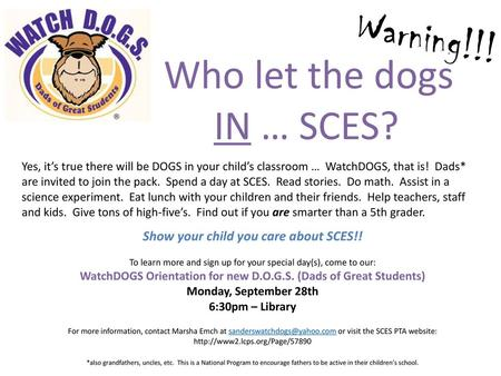 Show your child you care about SCES!!