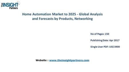 Home Automation Market to Global Analysis and Forecasts by Products, Networking No of Pages: 150 Publishing Date: Apr 2017 Single User PDF: US$