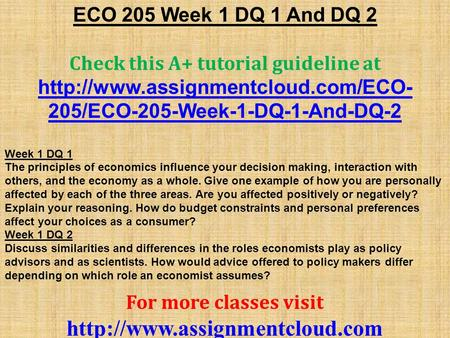 ECO 550 Week 2 DQ NEW