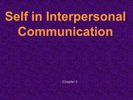 Chapter 2 Self in Interpersonal Communication. Self-Concept = how you view yourself or your self image How the self-concept is developed: Reflected Appraisal-