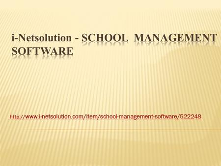 School Management Software - i-Netsolution