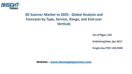 3D Scanner Market to Global Analysis and Forecasts by Type, Service, Range, and End-user Verticals No of Pages: 150 Publishing Date: Apr 2017 Single.