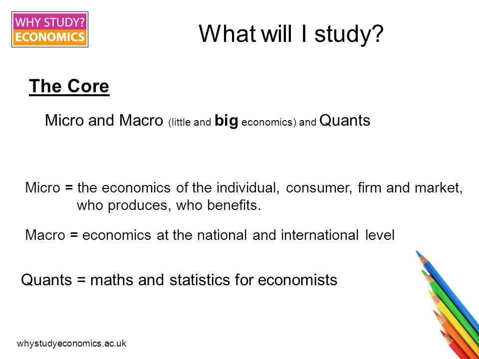 whystudyeconomics.ac.uk Module Options -Money and Finance -Development Economics -Business Economics -Environmental Economics -International Economics -Political and Social Economics -Health Economics Typically: 8- 10 hours of contact time a week (including seminars, tutorials and lectures) In addition to this you will also have to do your own, personal study.
