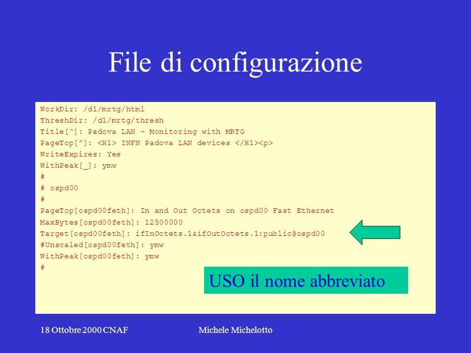 18 Ottobre 2000 CNAFMichele Michelotto La temperatura del nostro router CISCO