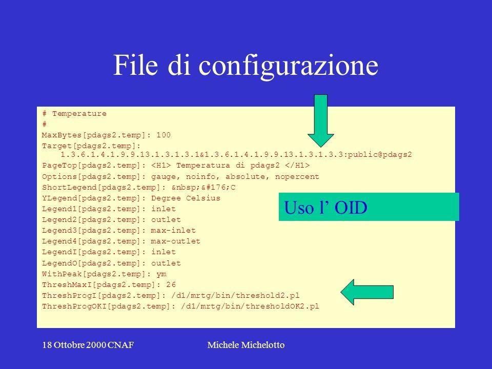 18 Ottobre 2000 CNAFMichele Michelotto File di configurazione # # User and Process # MaxBytes[ospd00.usr.proc]: 1000 Target[ospd00.usr.proc]: 1.3.6.1.2.1.25.1.5.0&1.3.6.1.2.1.25.1.6.0:public@ospd00 PageTop[ospd00.usr.proc]: User and Process on ospd00 Current Users and Current Process < /H2> Options[ospd00.usr.proc]: gauge, noinfo, absolute, nopercent ShortLegend[ospd00.usr.proc]: unit YLegend[ospd00.usr.proc]: User and Process #Colours[ospd00.usr.proc]: BLUE#1000FF,RED#FF0000,BLUE#1000FF,RED#FF0000 Legend1[ospd00.usr.proc]: users Legend2[ospd00.usr.proc]: processes Legend3[ospd00.usr.proc]: max users Legend4[ospd00.usr.proc]: max processes LegendI[ospd00.usr.proc]: Users LegendO[ospd00.usr.proc]: Procs WithPeak[ospd00.usr.proc]: ymwd # Uso l OID