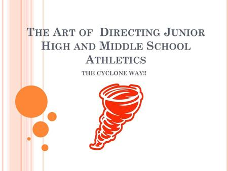 The Art of Directing Junior High and Middle School Athletics