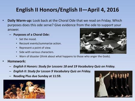 English II Honors/English II—April 4, 2016