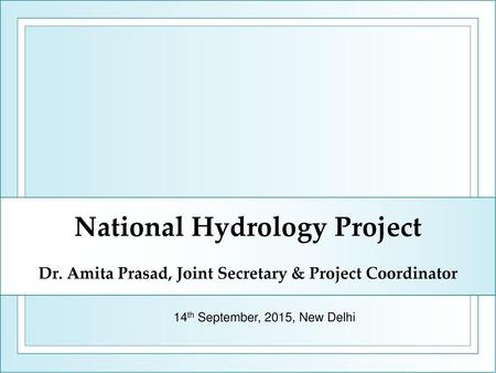 National Hydrology Project Dr