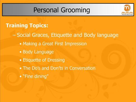 Personal Grooming Training Topics: