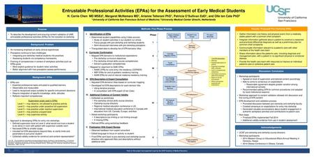 Entrustable Professional Activities (EPAs) for the Assessment of Early Medical Students H. Carrie Chen MD MSEd1, Margaret McNamara MD1, Arianne Teherani.