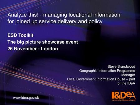 ESD Toolkit The big picture showcase event 26 November - London