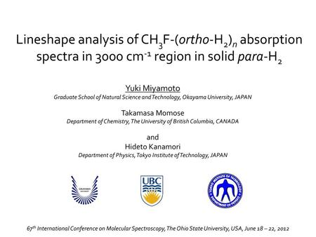 Lineshape analysis of CH3F-(ortho-H2)n absorption spectra in 3000 cm-1 region in solid para-H2 Yuki Miyamoto Graduate School of Natural Science and Technology,