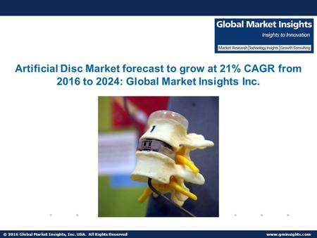 © 2016 Global Market Insights, Inc. USA. All Rights Reserved  Cervical Artificial Disc Market to surpass USD 3 billion by 2024.