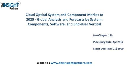 Cloud Optical System and Component Market to Global Analysis and Forecasts by System, Components, Software, and End-User Vertical No of Pages: 150.