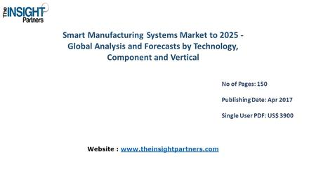 Smart Manufacturing Systems Market to Global Analysis and Forecasts by Technology, Component and Vertical No of Pages: 150 Publishing Date: Apr.