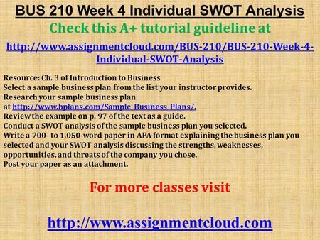 bus 210 week 4 due day 7 swot analysis