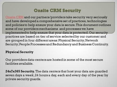 Onsite CRM Security