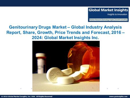 © 2016 Global Market Insights, Inc. USA. All Rights Reserved Genitourinary Drugs Market Share, Segmentation, Report 2024.