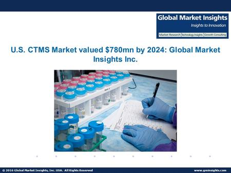 © 2016 Global Market Insights, Inc. USA. All Rights Reserved  CTMS Market share to reach $2bn by 2024.