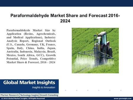 © 2016 Global Market Insights. All Rights Reserved  Paraformaldehyde Market Share and Forecast Paraformaldehyde Market Size.