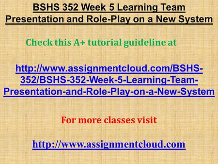 bshs 352 week 1 paper on Get bshs 352 week 4 technology solutions for human services paper at best affordable prices browse the latest assignment by.