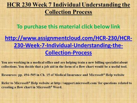 HCR 230 Week 7 Individual Understanding the Collection Process To purchase this material click below link  230-Week-7-Individual-Understanding-the-