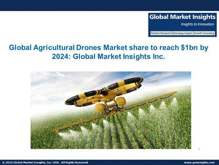 © 2016 Global Market Insights, Inc. USA. All Rights Reserved  Global Agricultural Drones Market share to reach $1bn by 2024: Global Market.