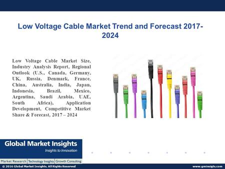 © 2016 Global Market Insights. All Rights Reserved  Low Voltage Cable Market Trend and Forecast Low Voltage Cable Market Size,