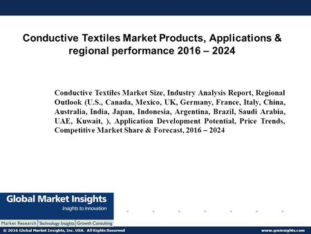 © 2016 Global Market Insights, Inc. USA. All Rights Reserved  Conductive Textiles Market Products, Applications & regional performance.