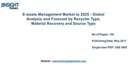 E-waste Management Market to Global Analysis and Forecast by Recycler Type, Material Recovery and Source Type No of Pages: 150 Publishing Date: