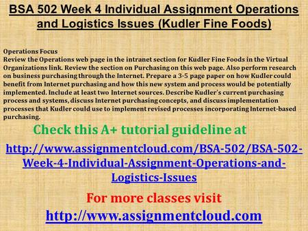 BSA 502 Week 4 Individual Assignment Operations and Logistics Issues (Kudler Fine Foods) Operations Focus Review the Operations web page in the intranet.
