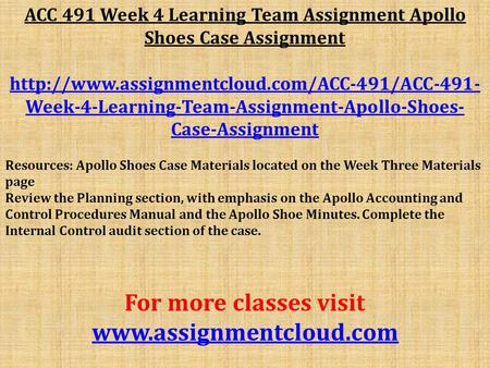 ACC 491 Week 4 Learning Team Assignment Apollo Shoes Case Assignment  Week-4-Learning-Team-Assignment-Apollo-Shoes-
